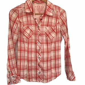 Guess women's plaid snap front shirt S